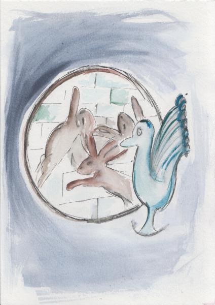 Online - Kindergeburtstag: Der Klau des Pfau (bei den drei Hasen)